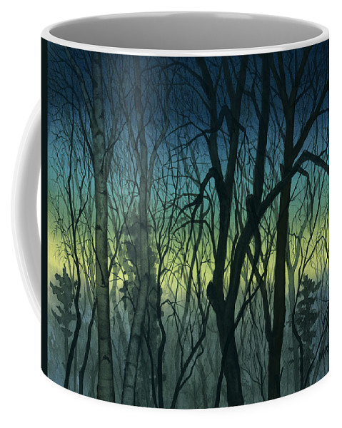 Blue Coffee Mug featuring the painting Evening Stand by Mary Tuomi