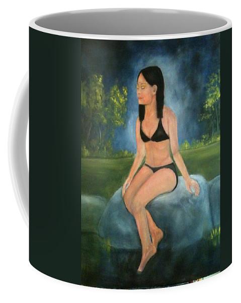 Woman Coffee Mug featuring the painting Evening Swim by Sheila Mashaw