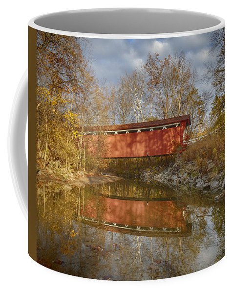 Cvnp Coffee Mug featuring the photograph Everett Rd. Covered Bridge In Fall by Jack R Perry