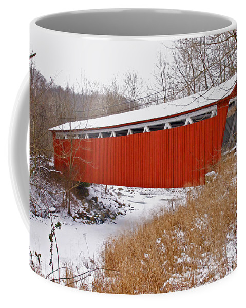 Ohio Coffee Mug featuring the photograph Everett Rd. Covered Bridge In Winter by Jack R Perry