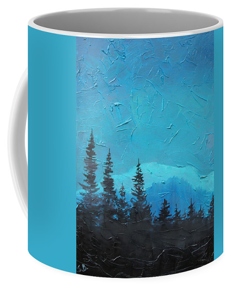 Landscape Coffee Mug featuring the painting Evergreen trees by Sergey Bezhinets
