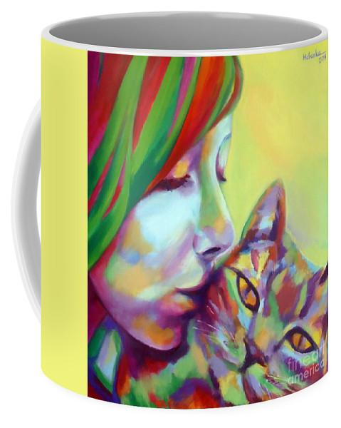 Contemporary Art Coffee Mug featuring the painting Evi And The Cat by Helena Wierzbicki