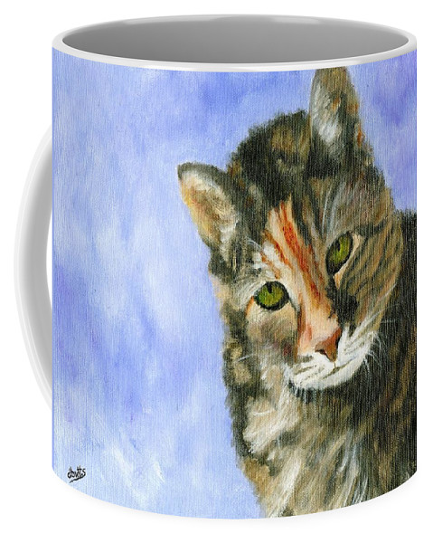 Cat Paintings Coffee Mug featuring the painting Evie by Deborah Butts