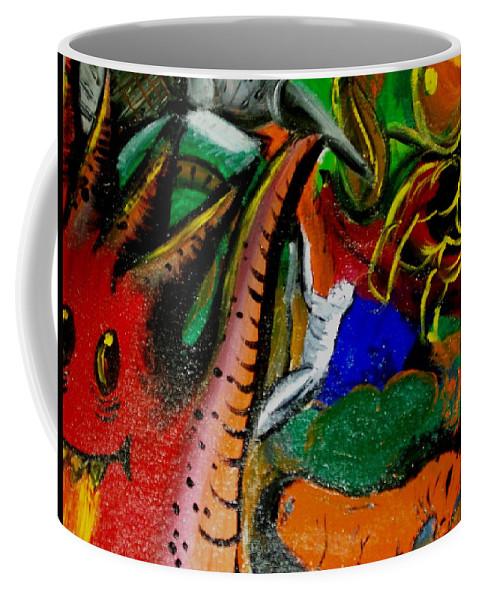 Evil Coffee Mug featuring the painting Evil Aloe Vera by Laurette Escobar