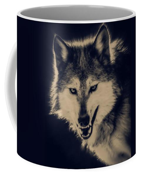 Wolf Coffee Mug featuring the digital art Evil Wolf by Ernie Echols