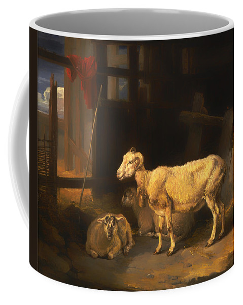 Painting Coffee Mug featuring the painting Ewe And Lambs by Mountain Dreams