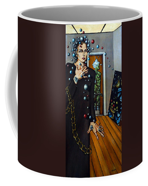 Surreal Coffee Mug featuring the painting Existential Thought by Valerie Vescovi