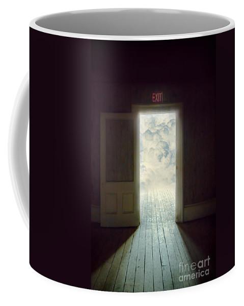 Door Coffee Mug featuring the photograph Exit by Jill Battaglia