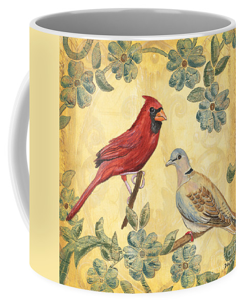 Birds Coffee Mug featuring the painting Exotic Bird Floral And Vine 2 by Debbie DeWitt