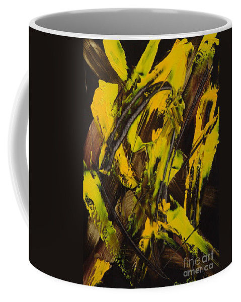 Abstract Coffee Mug featuring the painting Expectations Yellow by Dean Triolo