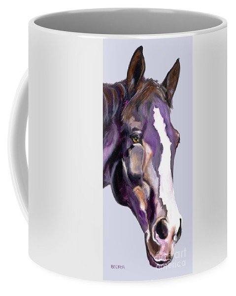 Thoroughbred Coffee Mug featuring the painting Eye On The Prize by Susan A Becker