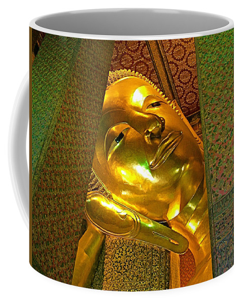 Face Of Reclining Buddha In Wat Po In Bangkok Coffee Mug featuring the photograph Face Of Reclining Buddha In Wat Po In Bangkok-thailand by Ruth Hager