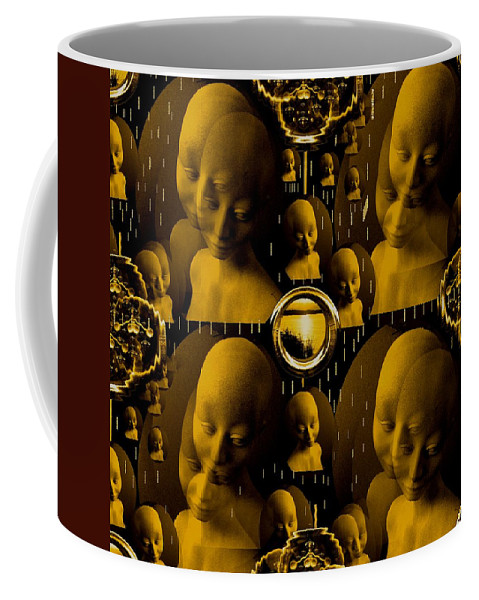 Faces Coffee Mug featuring the mixed media Faces For Peace by Pepita Selles