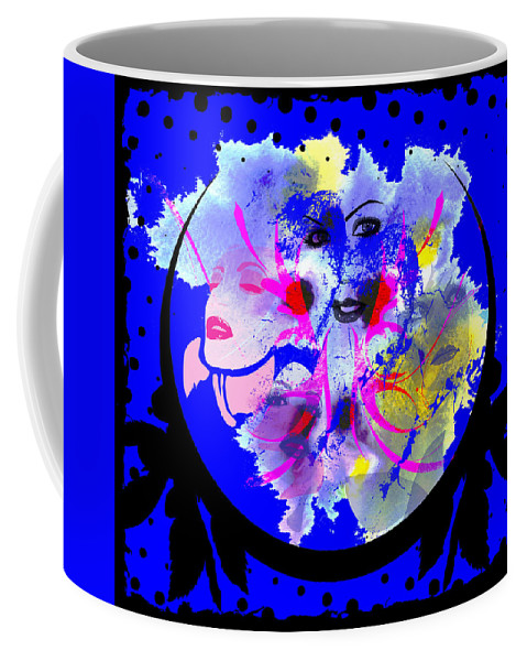 Face Coffee Mug featuring the digital art Faces by Michael Damiani