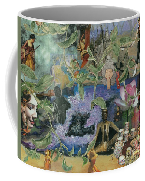 Collage Coffee Mug featuring the mixed media Faces Of Rebirth by Paula Emery
