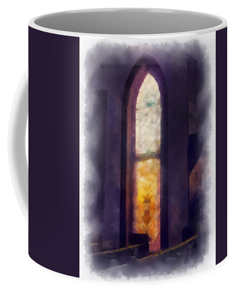 Stained Glass Coffee Mug featuring the photograph Faded Purple Stained Glass Window Photo Art by Thomas Woolworth