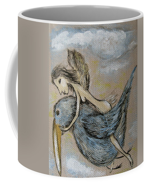 Surreal Coffee Mug featuring the painting Faery And The Stork - Prints by Sue Wright
