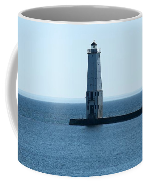 Frankfort Lighthouse Coffee Mug featuring the photograph Fairly Calm Day by Linda Kerkau