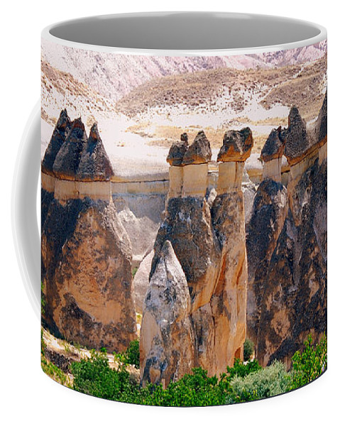 Landscape Coffee Mug featuring the photograph Fairy Chimney Panorama by Apurva Madia