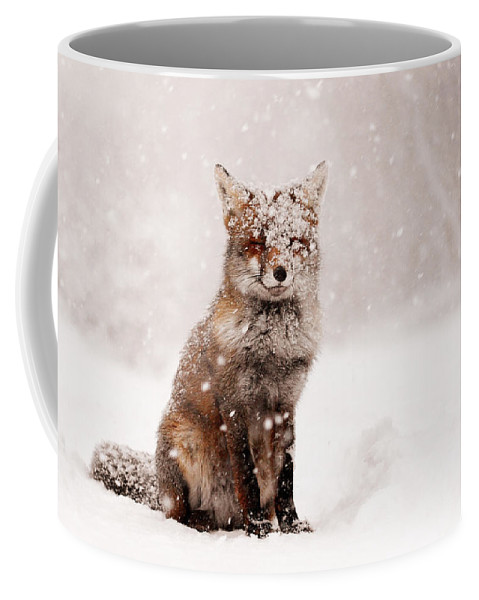 Fox Coffee Mug featuring the photograph Fairytale Fox _ Red Fox In A Snow Storm by Roeselien Raimond