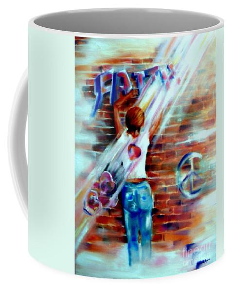 Orayers Coffee Mug featuring the painting Faith...within Reach by Sandy Ryan