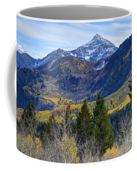 Wasatch Mountains Coffee Mug featuring the photograph Fall At Cascade Peak And Sundance From Alpine Loop by Gary Whitton