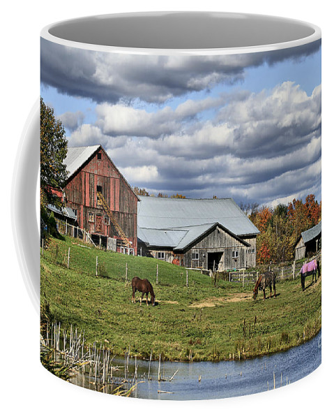 Barn. Horses Coffee Mug featuring the photograph Fall At The Horse Farm by Deborah Benoit