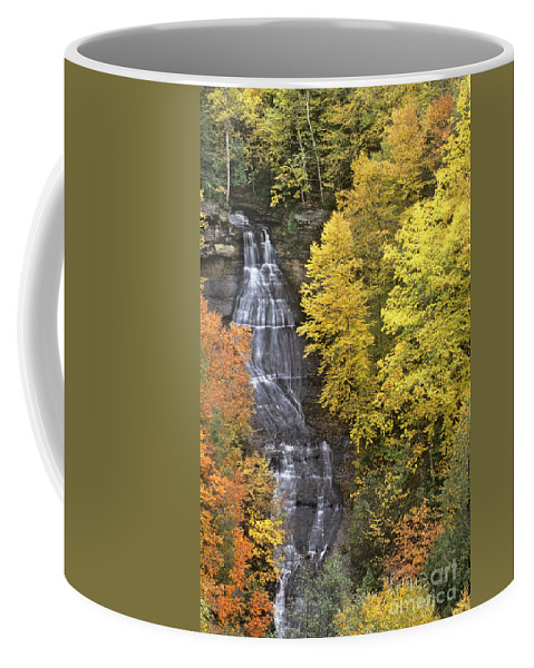 Michigan Coffee Mug featuring the photograph Fall Color Surrounds Chapel Falls On The Michigan Upper Peninsula by Dave Welling