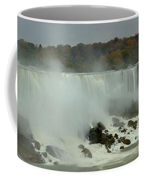 Niagara Falls Panorama Coffee Mug featuring the photograph Fall Foliage At American Falls Panorama by Adam Jewell