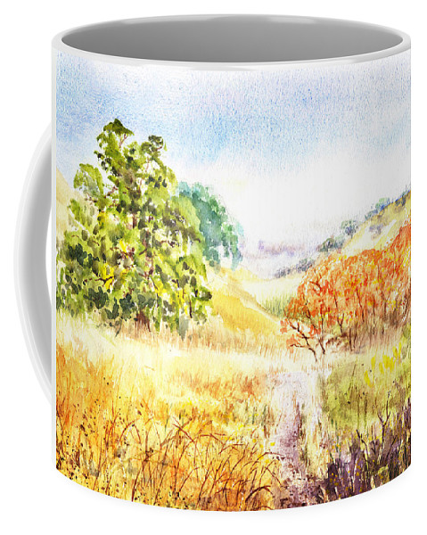 Landscape Coffee Mug featuring the painting Fall Landscape Briones Park California by Irina Sztukowski