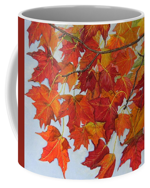 Leaves Coffee Mug featuring the painting Fall Leaves by Connie Rowsell