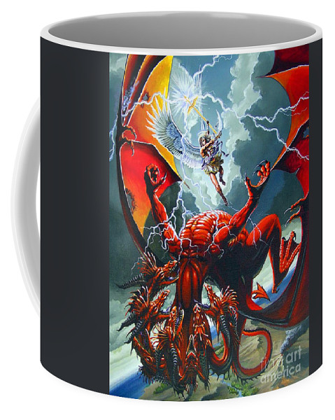Dragon Coffee Mug featuring the painting Fall Of The Hydra by Stanley Morrison
