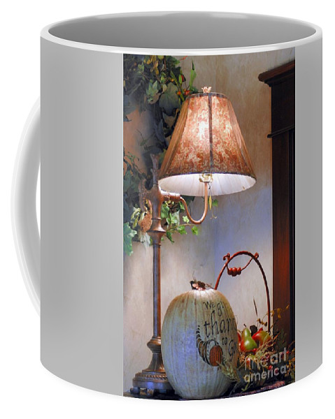 #table #lamp #pumpkin #dried Coffee Mug featuring the photograph Fall Still Life by Kathleen Struckle