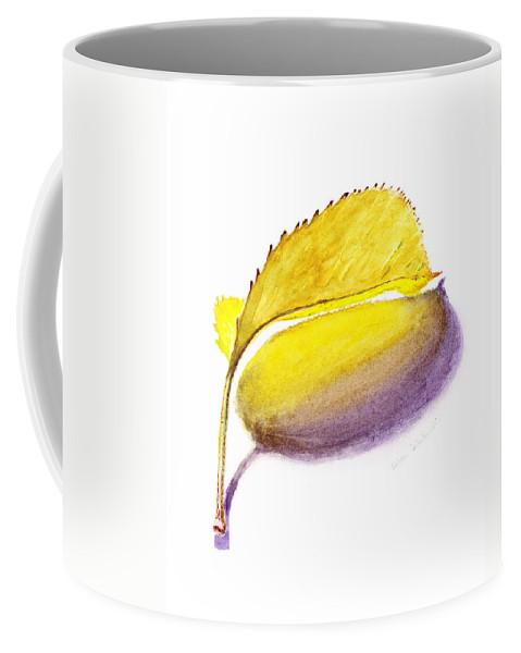 Autumn Coffee Mug featuring the painting Fallen Leaf Yellow Shadows by Irina Sztukowski