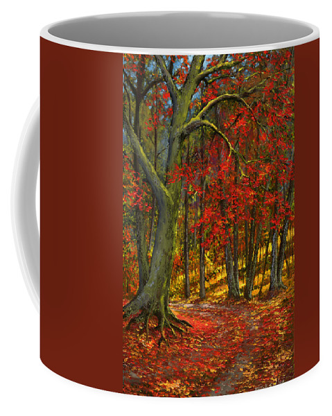 Landscape Coffee Mug featuring the painting Fallen Leaves by Frank Wilson