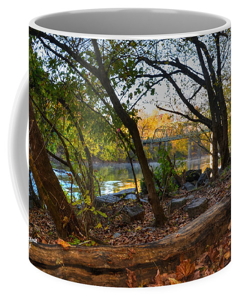 River Coffee Mug featuring the photograph Fallen Log On River Path by Aaron Shortt