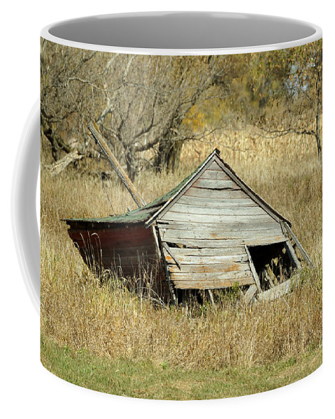 Barn Coffee Mug featuring the photograph Falling Down by Lori Tordsen