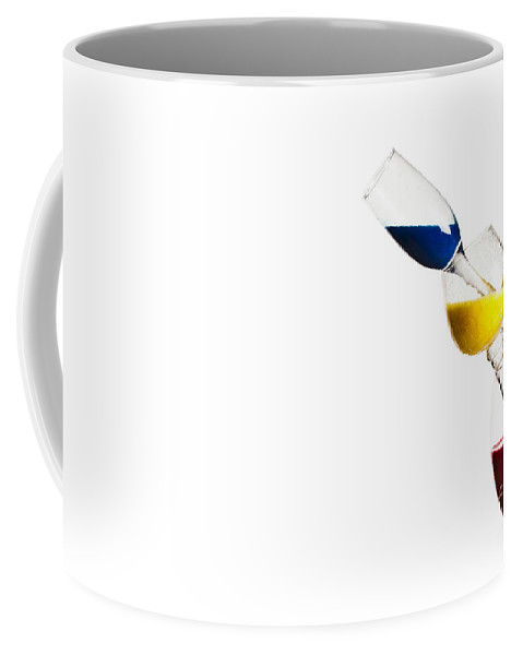 Variation Coffee Mug featuring the photograph Falling Glasses Of Paint by Guy Viner