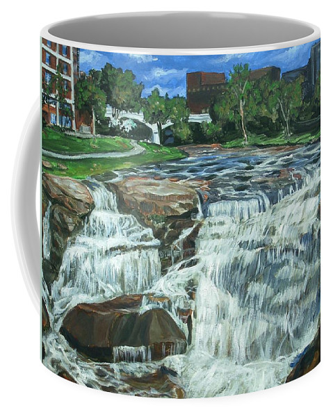 Waterfall Coffee Mug featuring the painting Falls River Park by Bryan Bustard