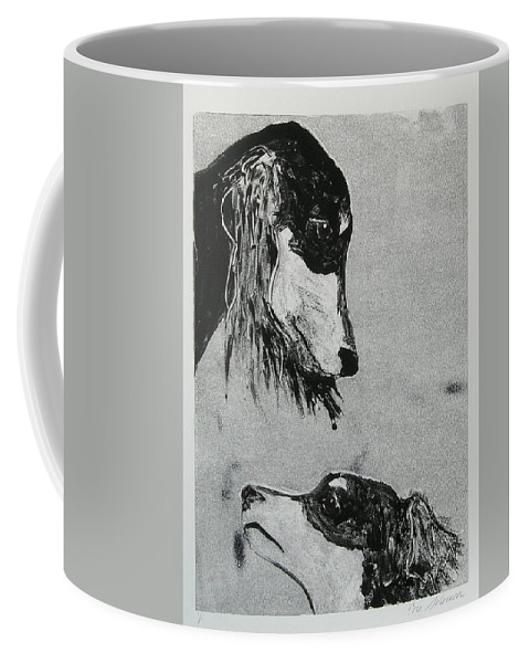 Saluki Coffee Mug featuring the mixed media Family Affair by Cori Solomon