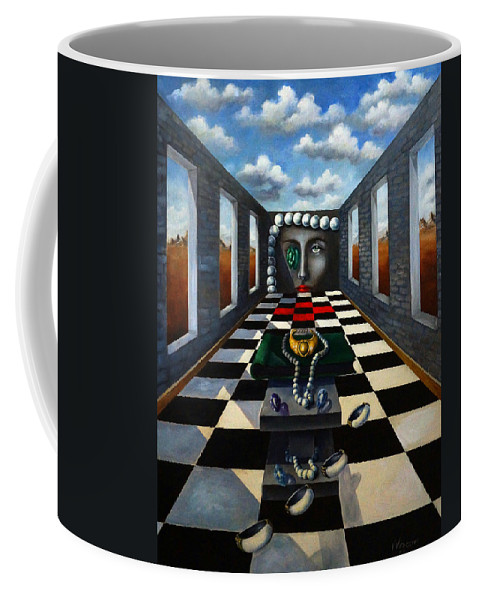 Surreal Landscape Coffee Mug featuring the painting Family Jewels by Valerie Vescovi