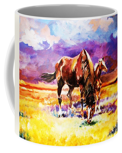 Horses Coffee Mug featuring the painting Family Outing by Al Brown