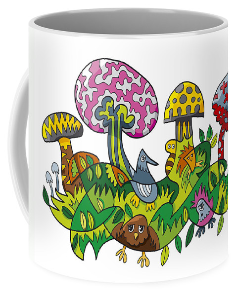 Frank Ramspott Coffee Mug featuring the digital art Fanciful Mushroom Nature Doodle by Frank Ramspott