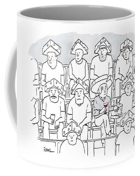 Packers Coffee Mug featuring the drawing Fans At A Football Game Sit In The Stands Wearing by Julian Rowe
