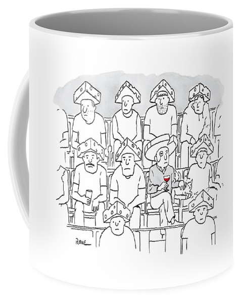 Captionless Coffee Mug featuring the drawing Fans At A Football Game Sit In The Stands Wearing by Julian Rowe