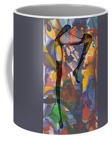 Female Woman Girl Fantasy Abstract Colorful Color Expressionism Lingerie Stockings Sexy Erotic Painting Coffee Mug featuring the painting Fantasy by Steve K