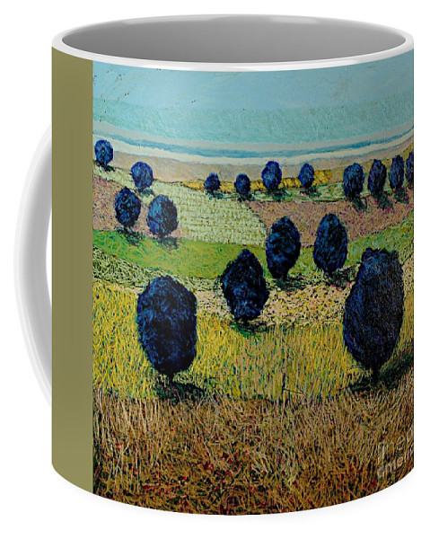 Landscape Coffee Mug featuring the painting Faraway Field by Allan P Friedlander