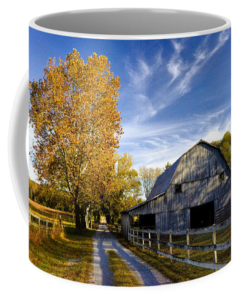 Tennessee Coffee Mug featuring the photograph Farm Road by Diana Powell