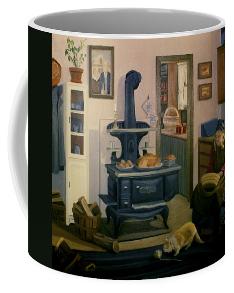 Farm Coffee Mug featuring the painting Farmhouse In Autumn 1990 by Nancy Griswold