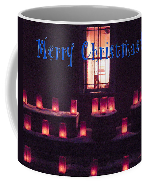 Farolitos Coffee Mug featuring the photograph Farolitos Or Luminaria Below Window 1-2 by Tamara Kulish